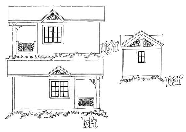 Cabin, Country, Log House Plan 43230 with 1 Beds, 1 Baths Rear Elevation