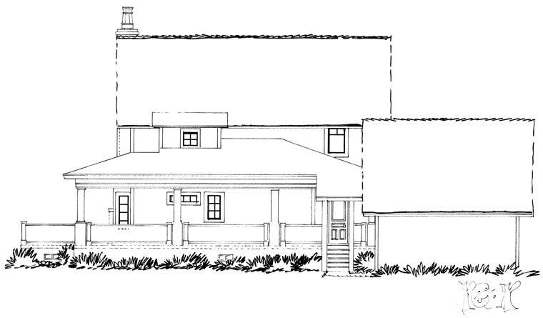 Country, Farmhouse, Southern House Plan 43237 with 4 Beds, 4 Baths, 2 Car Garage Rear Elevation