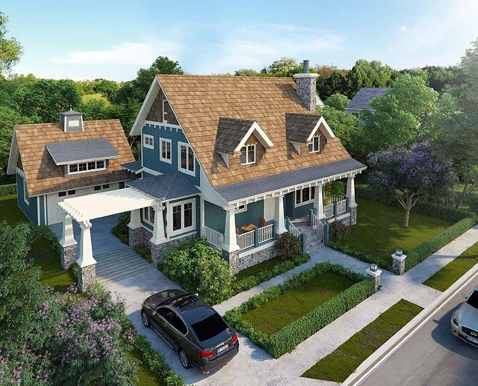 Bungalow, Cottage, Craftsman House Plan 43246 with 3 Beds, 3 Baths, 2 Car Garage Elevation