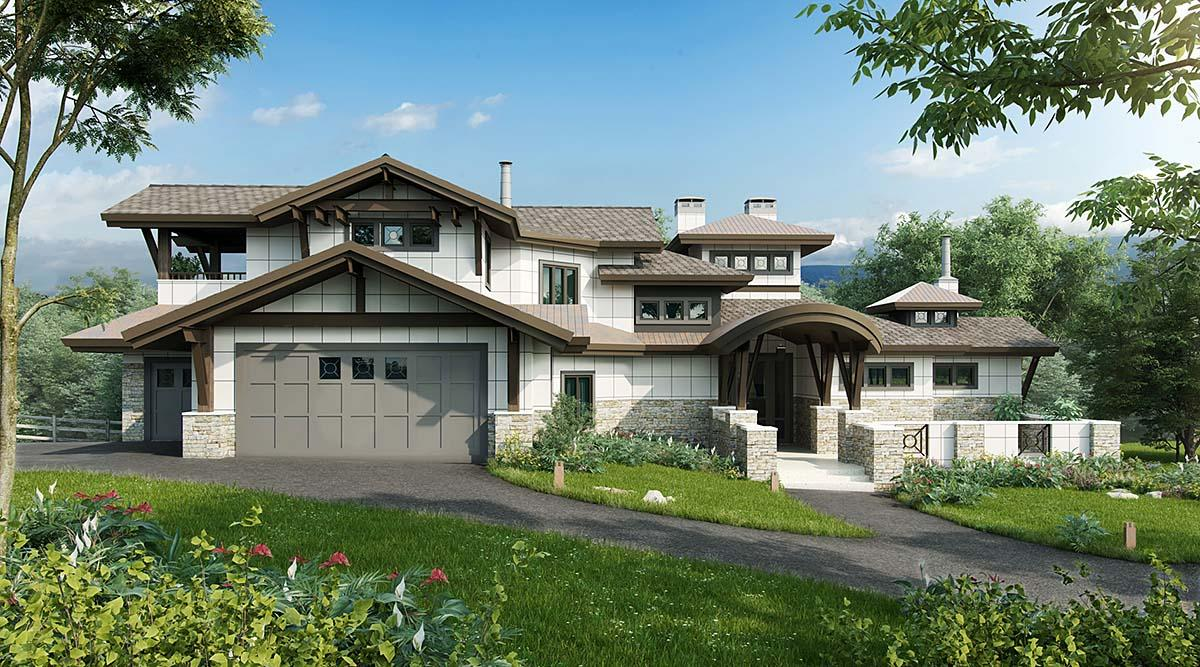 Contemporary House Plan 43248 with 4 Beds, 6 Baths, 3 Car Garage Elevation