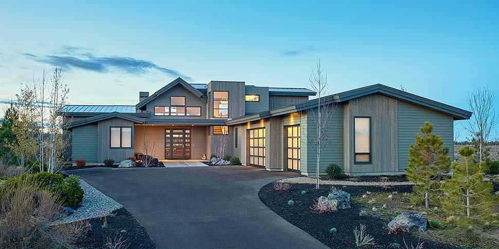 Contemporary, Modern House Plan 43312 with 5 Beds, 4 Baths, 3 Car Garage Elevation