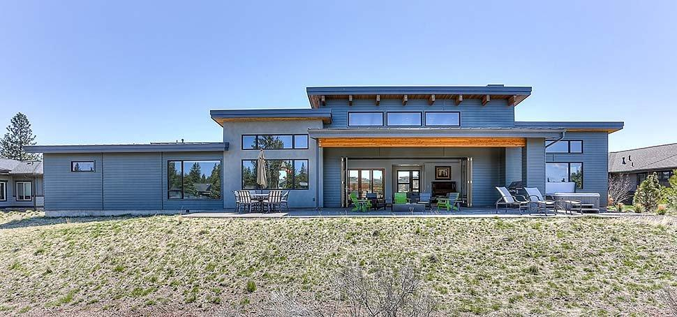 Contemporary, Modern House Plan 43322 with 3 Beds, 4 Baths, 3 Car Garage Rear Elevation