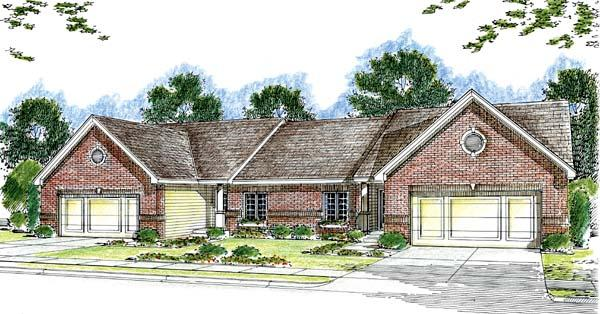 One-Story, Traditional Multi-Family Plan 44055 with 6 Beds, 4 Baths, 4 Car Garage Elevation