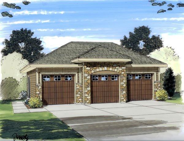 European 3 Car Garage Plan 44060 Elevation