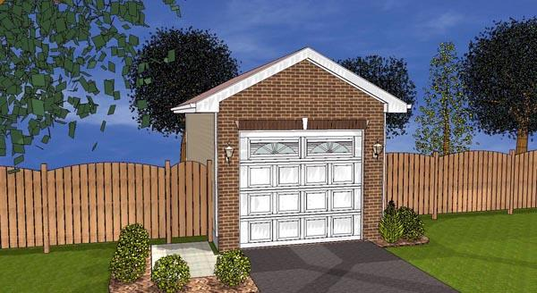 1 Car Garage Plan 44123 Elevation