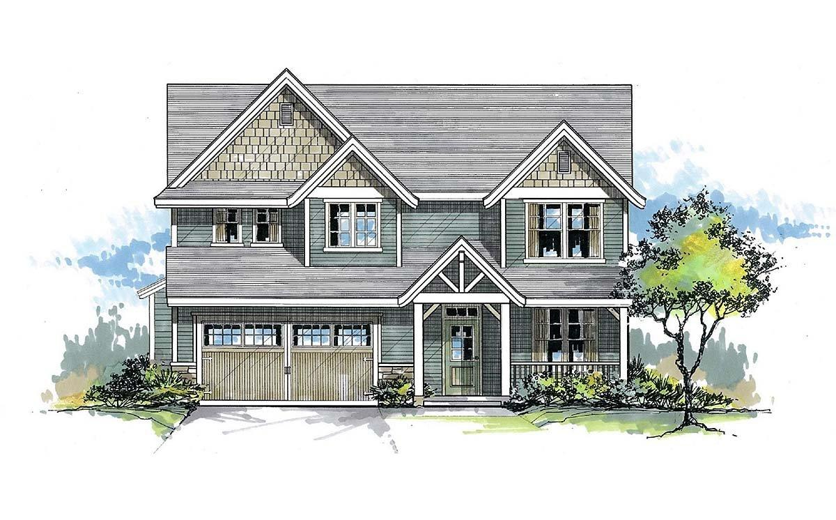 Craftsman, Traditional House Plan 44400 with 4 Beds, 3 Baths, 2 Car Garage Elevation