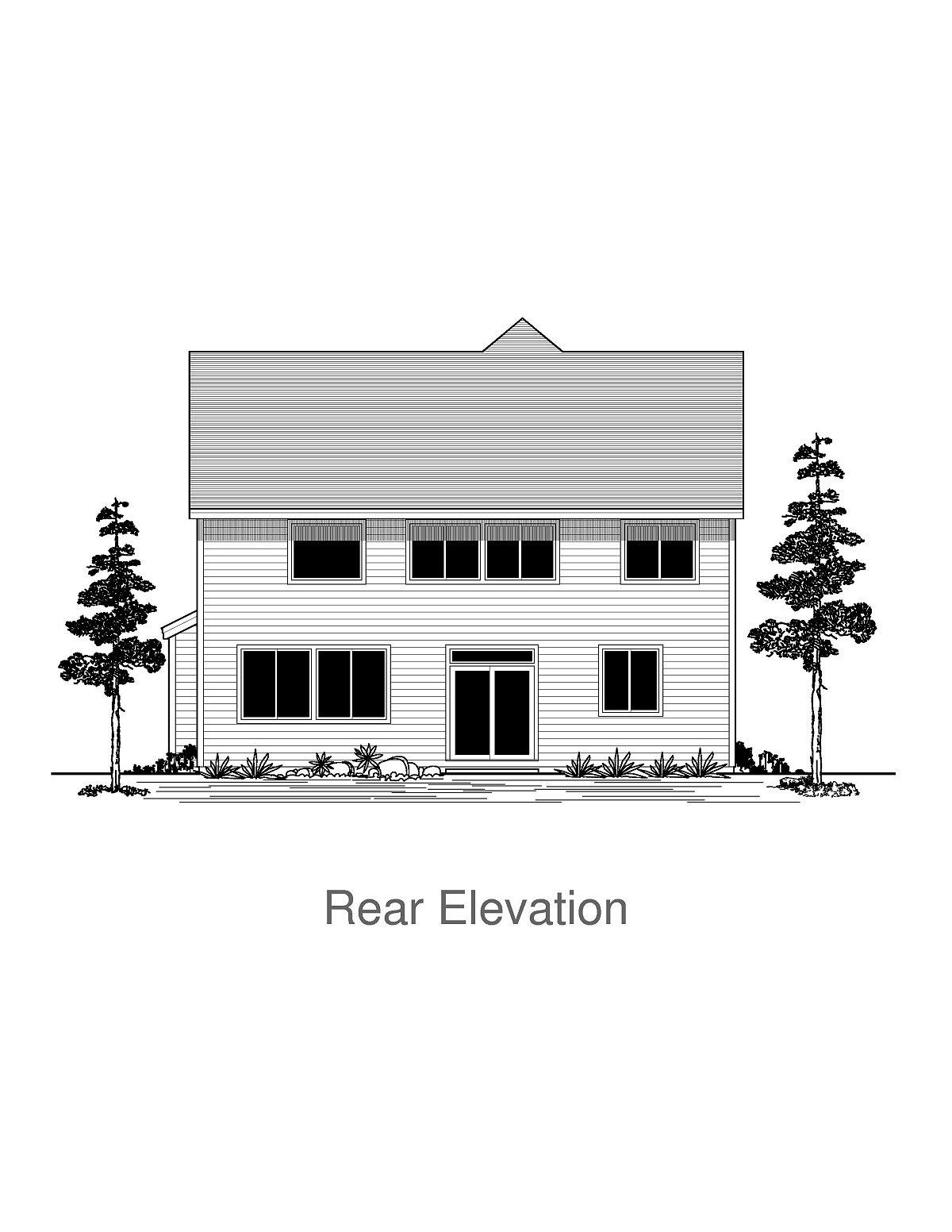 Craftsman, Traditional House Plan 44404 with 5 Beds, 3 Baths, 3 Car Garage Rear Elevation
