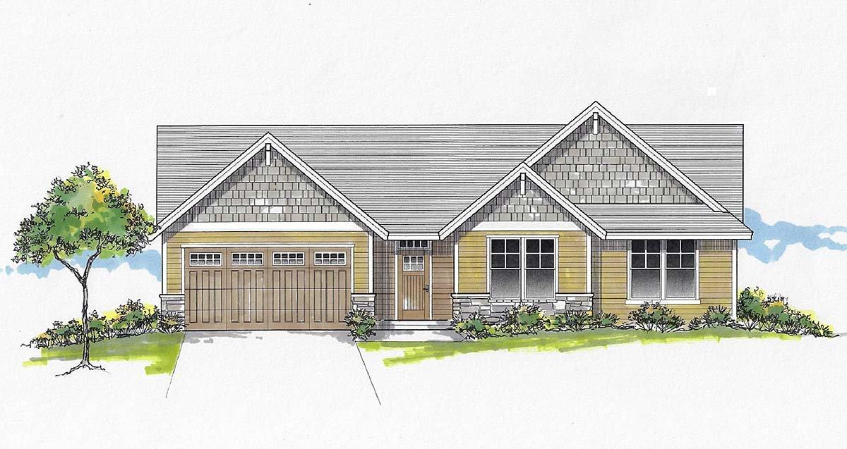 Craftsman, Ranch, Traditional House Plan 44408 with 3 Beds, 2 Baths, 2 Car Garage Elevation