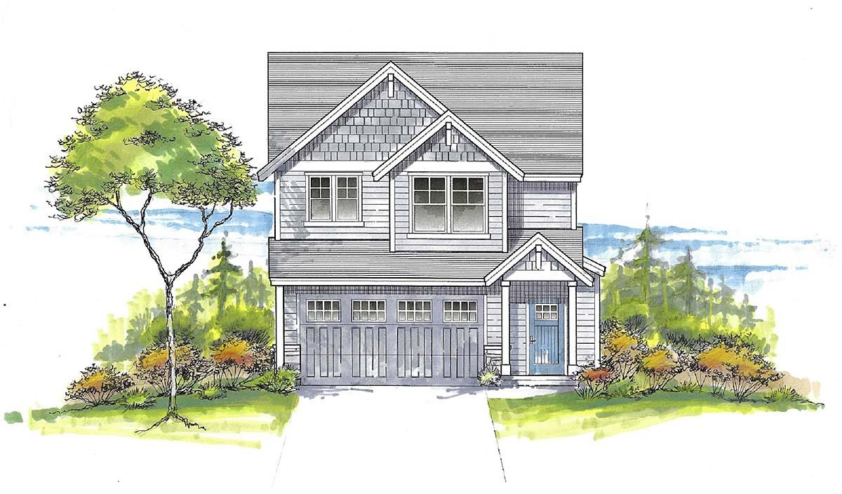 Craftsman, Traditional House Plan 44411 with 3 Beds, 3 Baths, 2 Car Garage Elevation