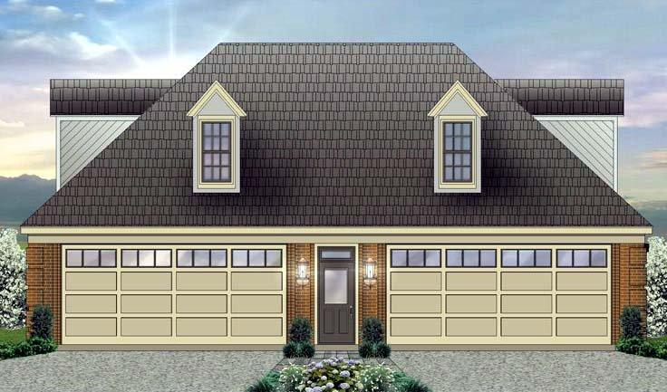 4 Car Garage Apartment Plan 44906 with 1 Beds, 2 Baths Elevation