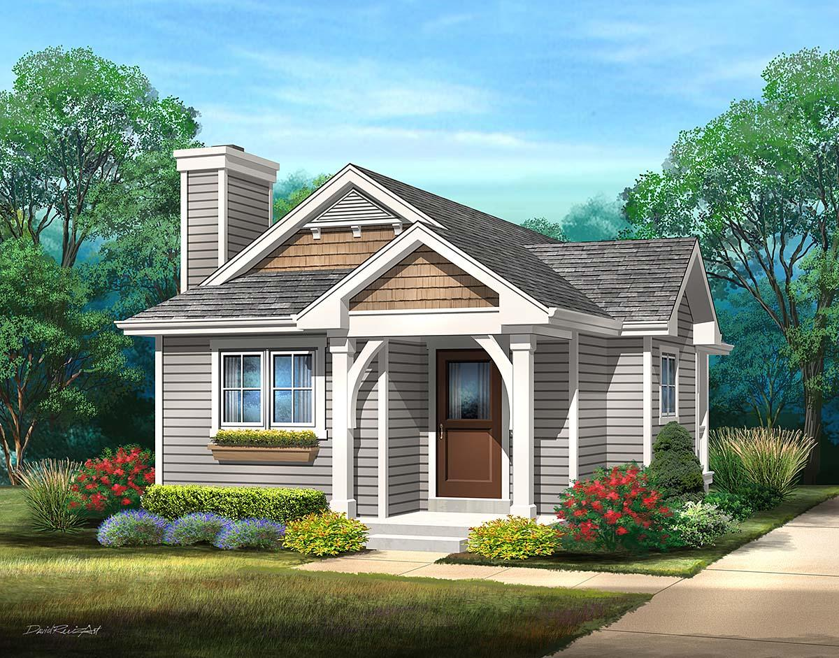 Bungalow, Cottage, One-Story House Plan 45169 with 1 Beds, 1 Baths Elevation