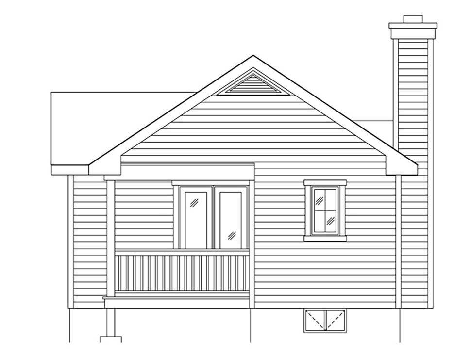 Bungalow, Cottage, One-Story House Plan 45169 with 1 Beds, 1 Baths Rear Elevation