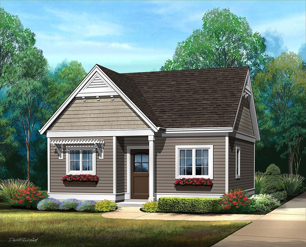 Cottage, Narrow Lot, One-Story House Plan 45184 with 1 Beds, 1 Baths Elevation