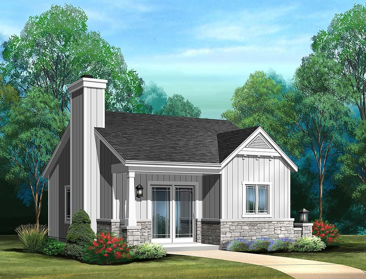 Bungalow, Cottage, Narrow Lot, One-Story House Plan 45186 with 1 Beds, 1 Baths Elevation