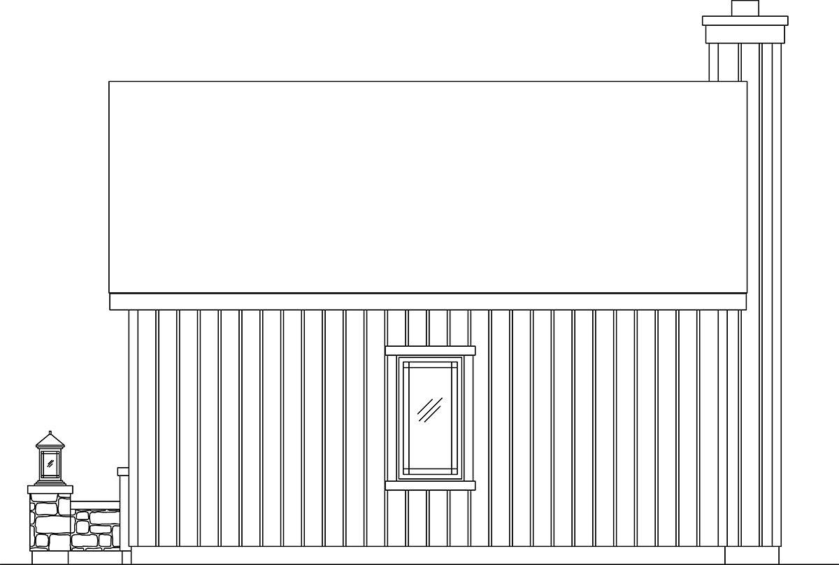 Bungalow, Cottage, Narrow Lot, One-Story House Plan 45186 with 1 Beds, 1 Baths Rear Elevation