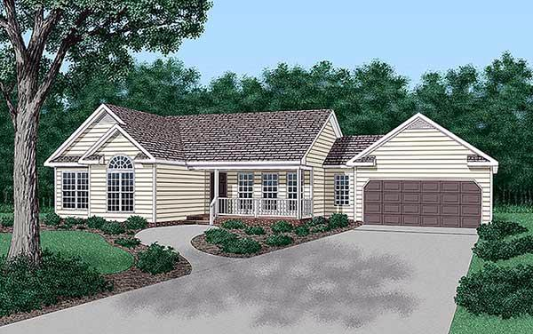 Ranch, Traditional House Plan 45210 with 3 Beds, 2 Baths, 2 Car Garage Elevation