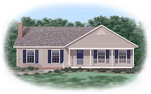 One-Story, Ranch, Traditional House Plan 45241 with 3 Beds, 2 Baths Elevation