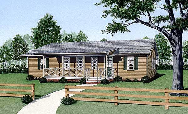 Ranch House Plan 45337 with 4 Beds, 2 Baths Elevation