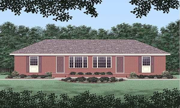 One-Story, Ranch Multi-Family Plan 45418 with 4 Beds, 2 Baths Elevation
