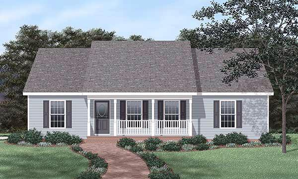 Ranch House Plan 45468 with 3 Beds, 2 Baths, 2 Car Garage Elevation