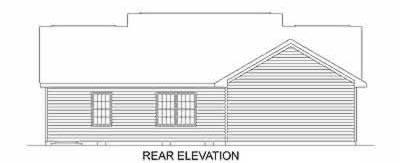 Ranch House Plan 45468 with 3 Beds, 2 Baths, 2 Car Garage Rear Elevation