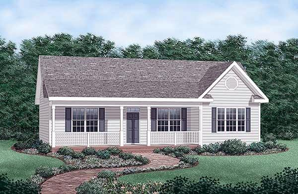 Country, Ranch, Traditional House Plan 45476 with 3 Beds, 2 Baths Elevation