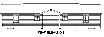 Ranch Multi-Family Plan 45504 with 4 Beds, 2 Baths Rear Elevation