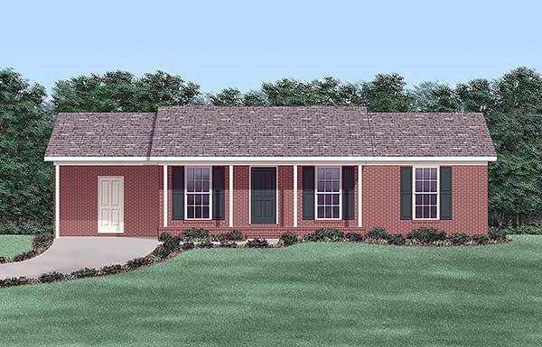 One-Story, Ranch House Plan 45507 with 3 Beds, 2 Baths, 1 Car Garage Elevation