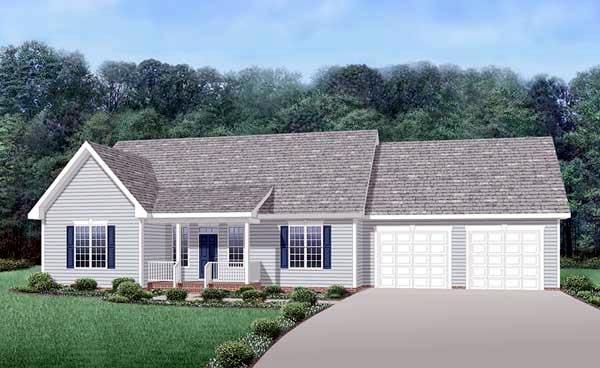 Country, One-Story, Ranch House Plan 45510 with 3 Beds, 2 Baths, 2 Car Garage Elevation