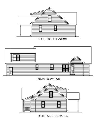 Country, One-Story, Ranch House Plan 45510 with 3 Beds, 2 Baths, 2 Car Garage Rear Elevation