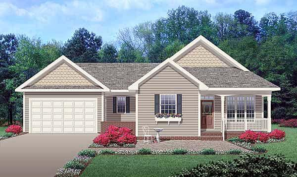 Ranch, Traditional House Plan 45514 with 3 Beds, 3 Baths, 2 Car Garage Elevation