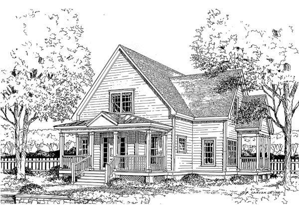 Narrow Lot House Plan 45634 with 4 Beds, 3 Baths Elevation