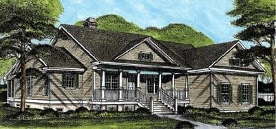 Country, Traditional House Plan 45658 with 3 Beds, 4 Baths, 2 Car Garage Elevation