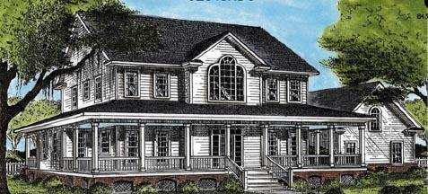 Country, Southern House Plan 45659 with 4 Beds, 4 Baths, 2 Car Garage Elevation