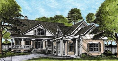 Country House Plan 45660 with 3 Beds, 4 Baths, 2 Car Garage Elevation