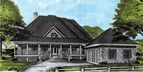 Country, European House Plan 45661 with 3 Beds, 3 Baths, 2 Car Garage Elevation