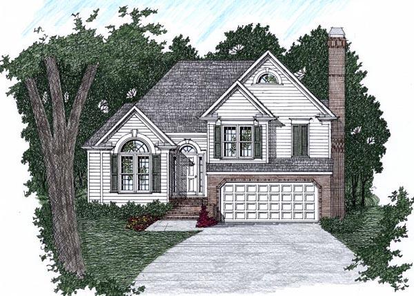 Narrow Lot, Traditional House Plan 45813 with 3 Beds, 3 Baths, 2 Car Garage Elevation