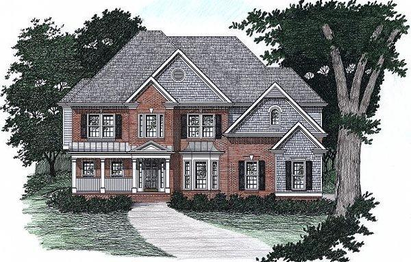 Traditional House Plan 45846 with 5 Beds, 4 Baths, 2 Car Garage Elevation