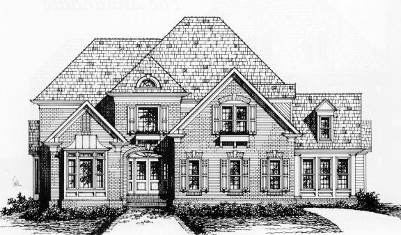 Traditional House Plan 45847 with 4 Beds, 3.5 Baths, 2 Car Garage Elevation