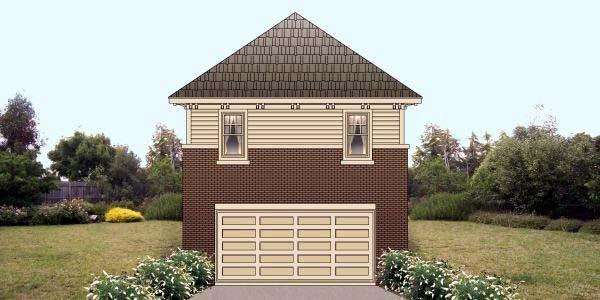 2 Car Garage Apartment Plan 47102 with 1 Beds, 1 Baths Elevation