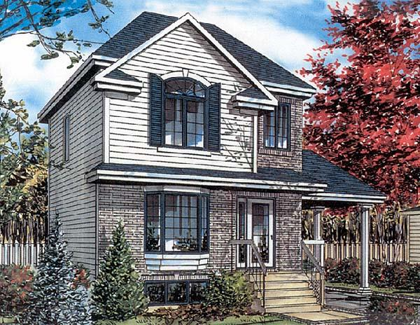 European, Narrow Lot House Plan 48003 with 3 Beds, 2 Baths, 1 Car Garage Elevation