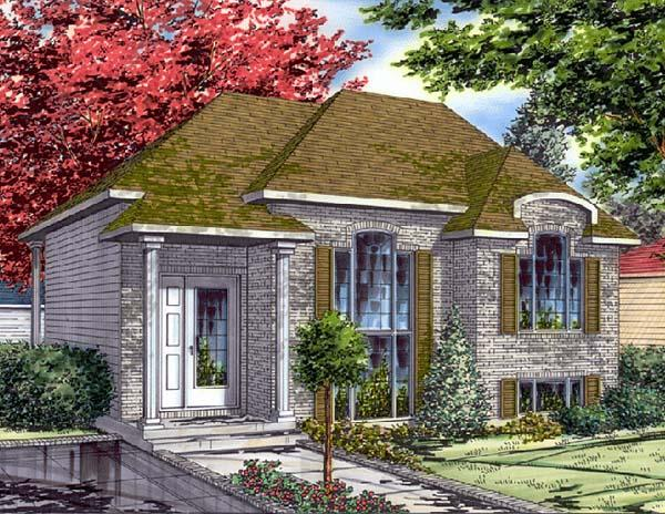 Bungalow, Narrow Lot House Plan 48011 with 4 Beds, 2 Baths Elevation