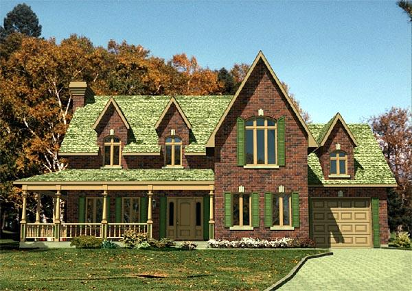 Farmhouse, Narrow Lot House Plan 48116 with 3 Beds, 2 Baths, 1 Car Garage Elevation