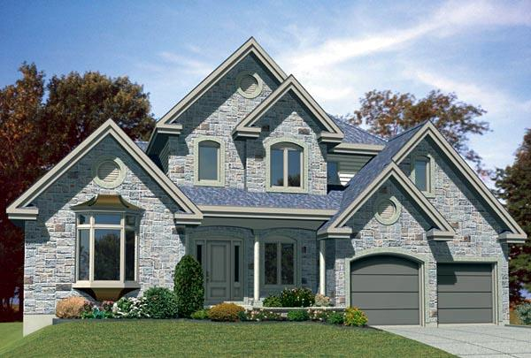 European House Plan 48117 with 3 Beds, 2 Baths, 2 Car Garage Elevation