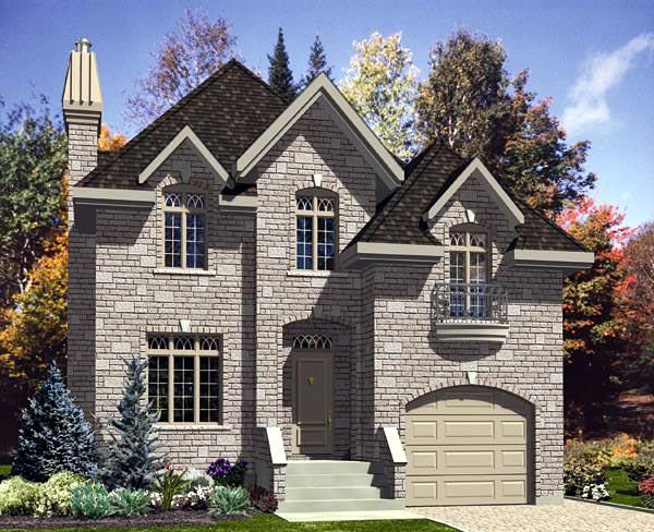 Narrow Lot, Victorian House Plan 48149 with 3 Beds, 2 Baths, 1 Car Garage Elevation