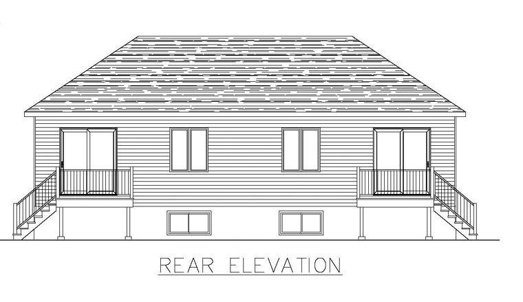 Multi-Family Plan 48296 with 8 Beds, 4 Baths Rear Elevation
