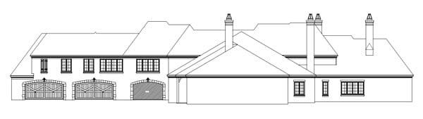 Country, European House Plan 48761 with 6 Beds, 4 Baths, 4 Car Garage Rear Elevation