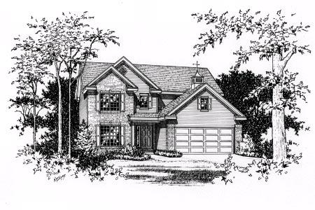 Narrow Lot, Traditional House Plan 49079 with 3 Beds, 3 Baths, 2 Car Garage Elevation