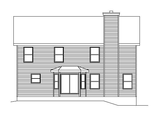 Narrow Lot, Traditional House Plan 49079 with 3 Beds, 3 Baths, 2 Car Garage Rear Elevation