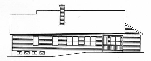 Ranch House Plan 49136 with 3 Beds, 3 Baths, 2 Car Garage Rear Elevation